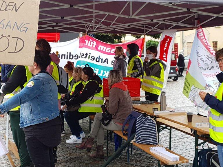 Warnstreik bei den Asklepios Fachkliniken Brandenburg am 30.08.2021 in Brandenburg an der Havel